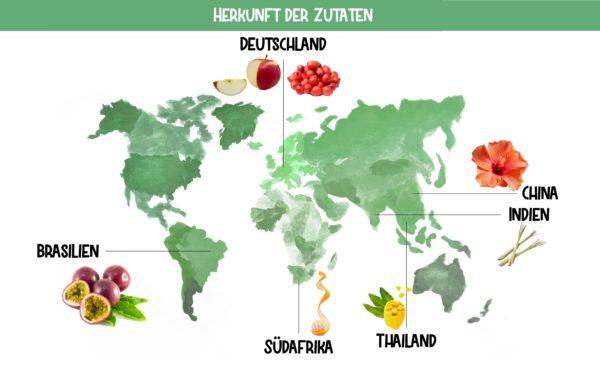 Zutatenherkunft Exotic Pearls Früchtetee Bio